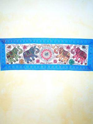 Indischer Wandbehang mit Elefanten-Motiv weiß mit blauem Rand