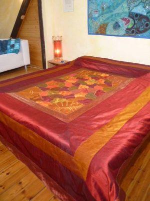 Tagesdecke Mosaik weinrot-terrakotta