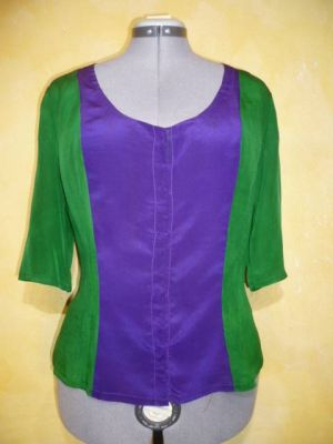 Bluse Caroline Seide grün-violett
