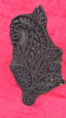 indischer Holzstempel - Blume-Paisley III