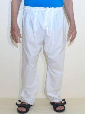 Hose weiss in Normallänge und mit weitem Bein