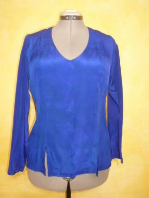 Bluse Caroline Crepeseide blau