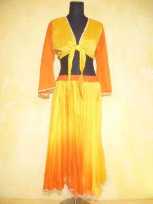 Bauchtanzkostüm Farita 2-teilig gelb-orange