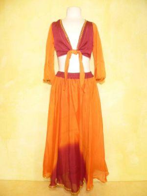 Bauchtanzkostüm Farita 2-teilig orange-rot