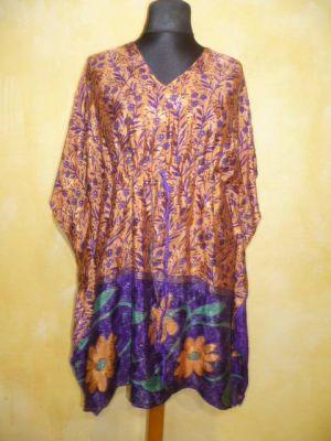 Kaftan-Tunika aus bunt bedrucktem Polyester orange-violett