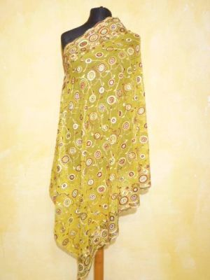 Dupatta Georgette currygelb mit all-over-Stickerei