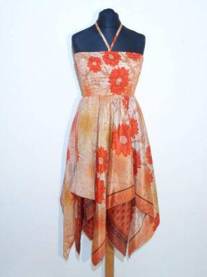 Zipfelkleid mit grossen, orangefarbenen Blüten