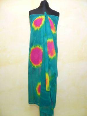 Stola - Sarong in smaragdgrün mit fuchsia und gelb