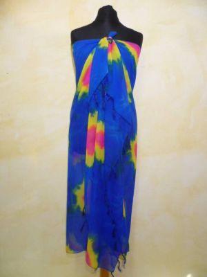 Stola - Sarong in royalblau mit fuchsia und gelb