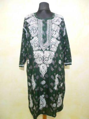 Ausdrucksvolle Tunika in schwarz-weiß und grün XXXL