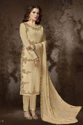 Salwar Kameez Mangala hellbeige - Stoffset / Anfertigung