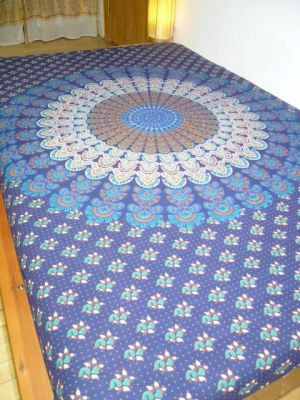 Baumwolldecke Mandala dunkelblau I