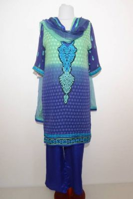 Salwar Kameez royalblau-hellgrün