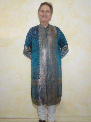 Sherwani 2-teilig aus Seidenbrokat blau-petrol