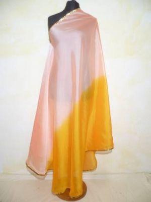 Zweifarbiger Bauchtanzschleier halbrund mit Borte - rosé-gelbgold