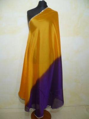 Zweifarbiger Bauchtanzschleier halbrund mit Borte - gelbgold-violett