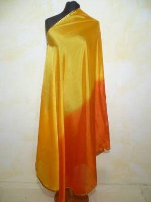 Zweifarbiger Bauchtanzschleier halbrund mit Borte - gelbgold-orange