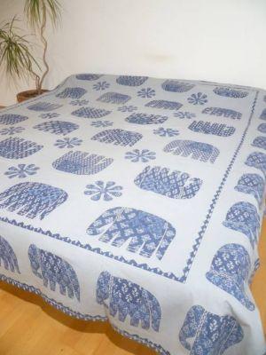 Baumwoll-Decke Elefanten graublau