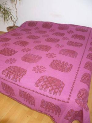 Baumwoll-Decke Elefanten magenta