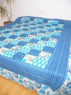 Tagesdecke Patchwork türkis-blau-weiss