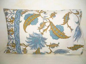 Kissenbezug 40x60 Blumenprint creme mit blau