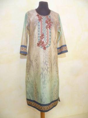 Kleid Vintage beige-türkis mit blauen Borten