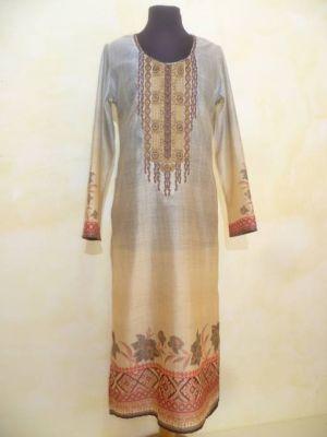 Kleid Vintage beige-graublau mit roten Borten