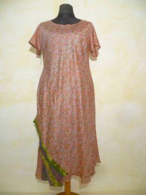 Sommerkleid Neelam Seide zimt mit Paiselyprint