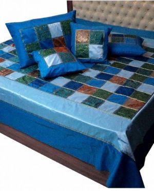 Tagesdecke Patchwork blau - S
