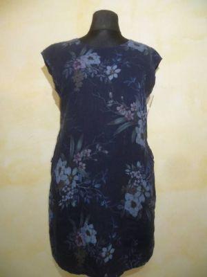 Leinenkleid dunkelblau mit Blumenprint