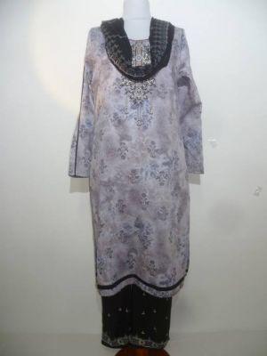 Salwar Kameez grau-schwarz aus reiner Baumwolle
