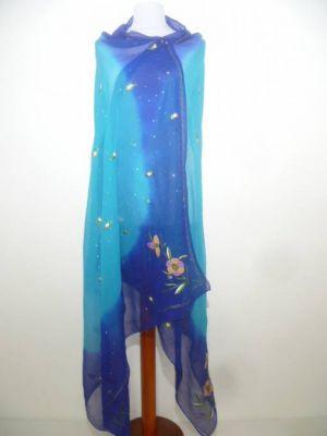 Dupatta aus feinstem Seidengeorgette royalblau-türkisblau