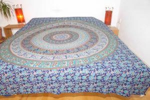 Tagesdecke Mandala Baumwolle dunkelblau mit Elefanten