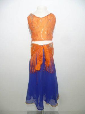 Bauchtanzkostüm 3-teilig blau und orange