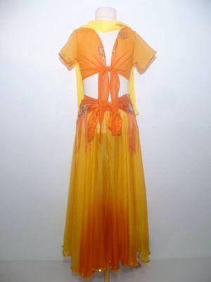 Bauchtanzkostüm Farita 4-teilig gelb-orange mit Fransengürtel