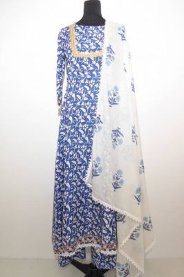 Salwar Kameez Baumwolle blau-weiss