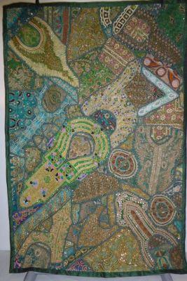 Wandbehang Heavy work gold-grün