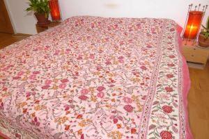 Quilt Blockprint zweiseitig rosa-naturweiss