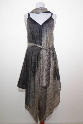 Jumpsuit Padmini Seide schwarz-grau - zweiteilig mit Schal