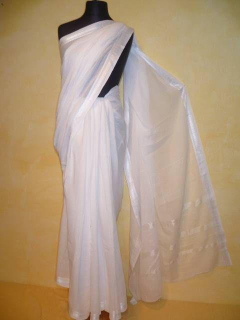 Sari Baumwoll-Voile 8 meter weiß