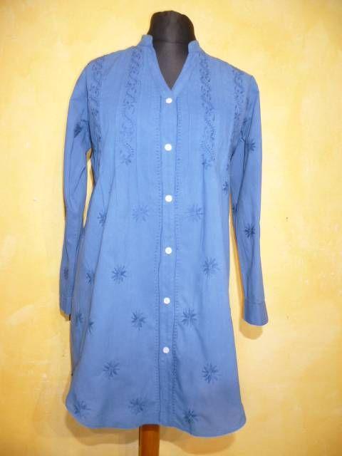 Baumwoll-Bluse im Tunikastil Preetam blau