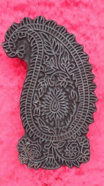 indischer Holzstempel Blume-Paisley II