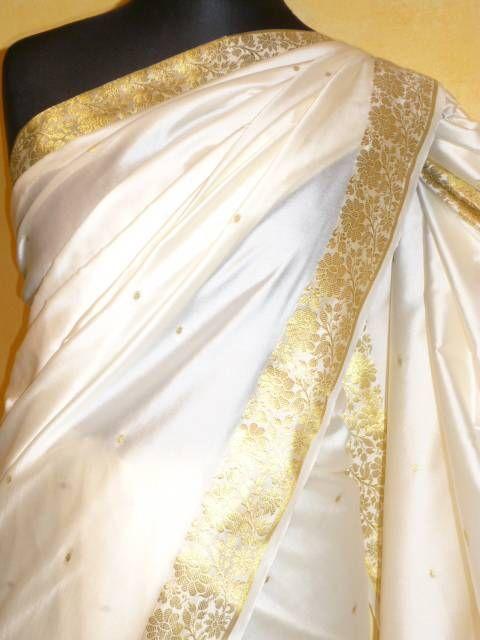 sari dekosilk creme mit gold out of india indische. Black Bedroom Furniture Sets. Home Design Ideas