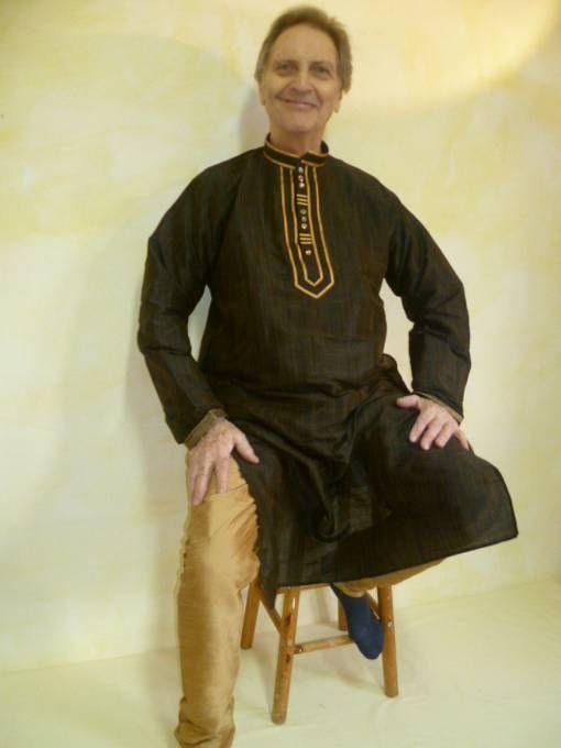 Kurta-Pajama-Set 2-teilig schwarz-braun