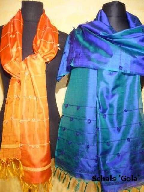 Seidenschal Gola aus zweifarbig changierender Seide - 4 Farben
