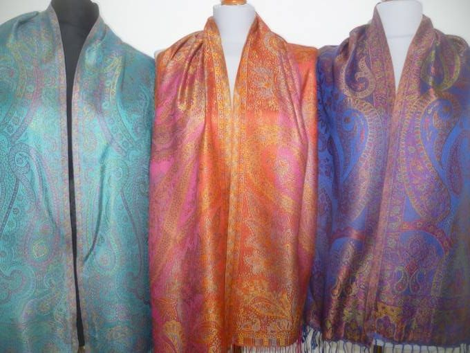 Elegante Seidenschals Jamawar - S - 12 Farben