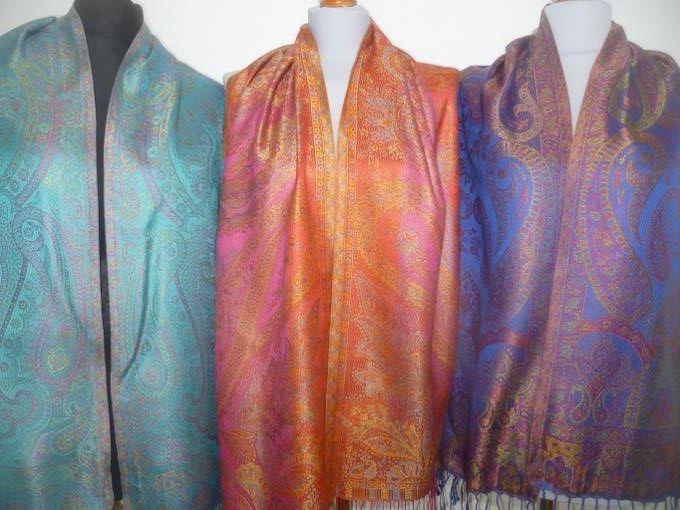 Elegante Seidenschals Jamawar - S I - 12 Farben
