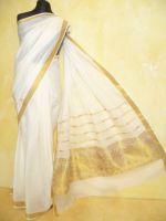 Sari Baumwolle creme mit gold - drei Designs