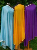 Bauchtanzschleier halbrund mit Borte - einfarbig - viele Farben