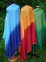 Bauchtanzschleier halbrund mit Borte -  zweifarbig - viele Farben